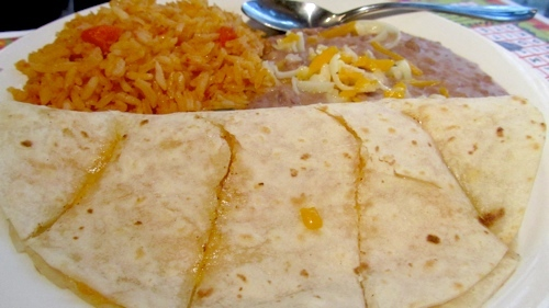 Mexican Tomato Rice And Bean Quesadilla With Sharp Cheddar ...